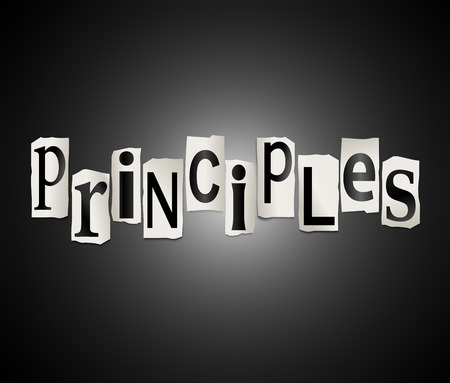 ethos: Illustration depicting a set of cut out printed letters arranged to form the word principles. Stock Photo
