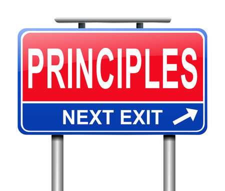 Illustration depicting a sign with a principles concept.