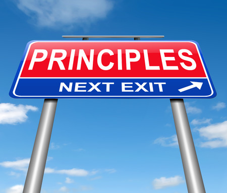 morals: Illustration depicting a sign with a principles concept.