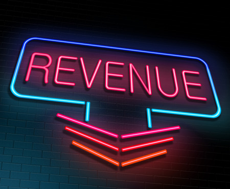 Illustration depicting an illuminated neon sign with a revenue concept.