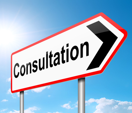 consulted: Illustration depicting a sign with a consultation concept.
