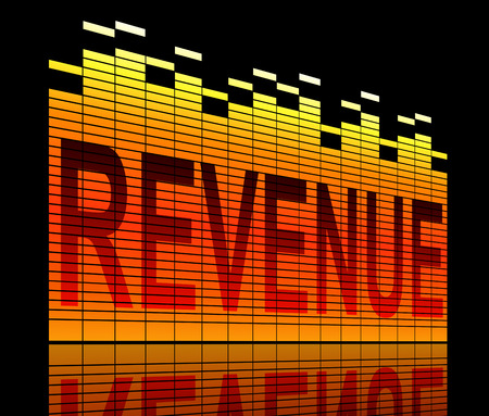 Illustration depicting graphic equalizer levels with a revenue concept. Stock Photo