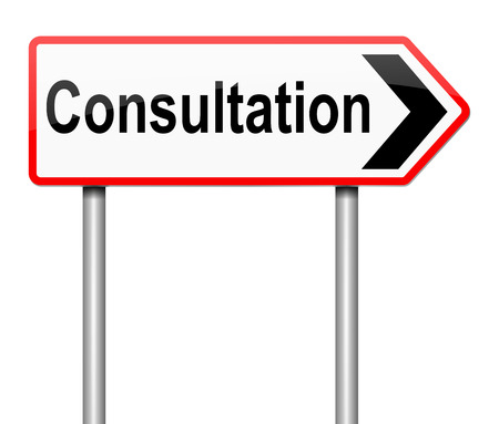 advising: Illustration depicting a sign with a consultation concept.