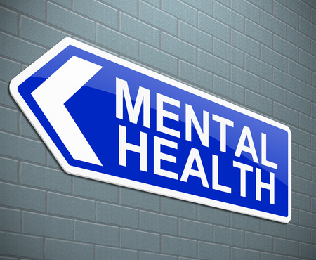 Illustration depicting a sign with a mental health concept. Stock Photo