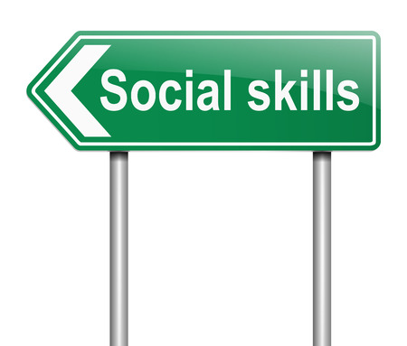 interpersonal: Illustration depicting a sign with a social skills concept. Stock Photo