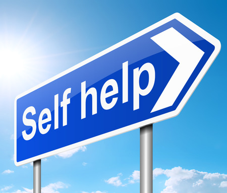 mending: Illustration depicting a sign with a self help concept. Stock Photo