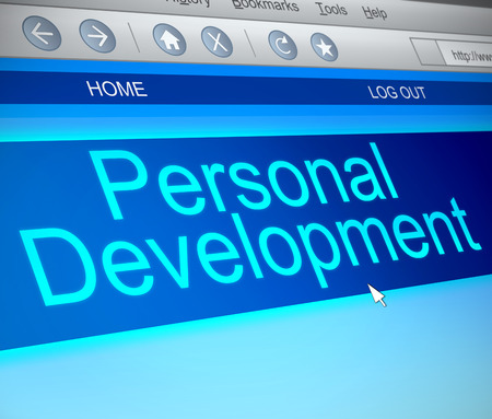 self awareness: Illustration depicting a computer screen capture with a personal development concept. Stock Photo