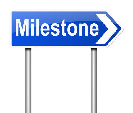 turning point: Illustration depicting a sign with a milestone concept.
