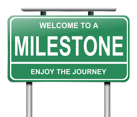 depicting: Illustration depicting a sign with a milestone concept.