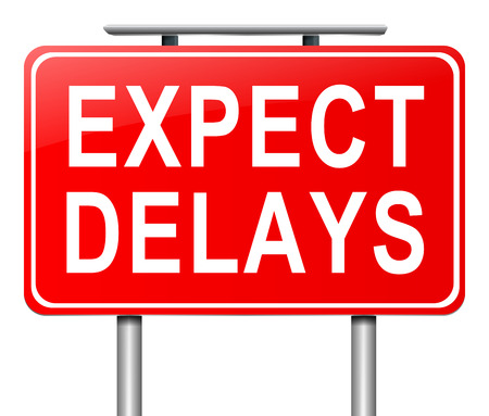 Illustration depicting a sign with a delay concept.