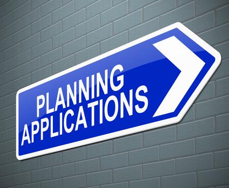 計画アプリケーションの概念と記号を描いたイラスト。