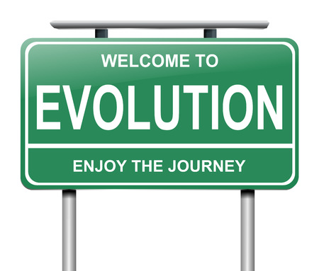 progression: Illustration depicting a sign with an evolution concept.