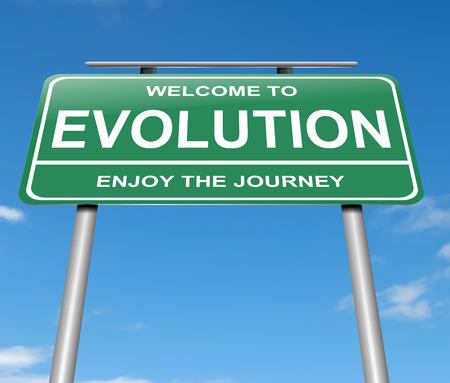 evolucion: Ilustración que muestra una señal con un concepto de evolución.
