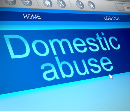 Illustration depicting a computer screen capture with a domestic abuse concept.