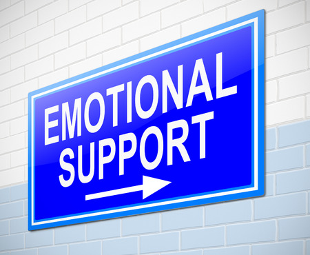 understanding: Illustration depicting a sign with an emotional support concept. Stock Photo