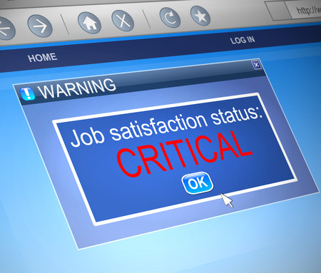 employee satisfaction: Illustration depicting a computer dialogue box with a job satisfaction concept.