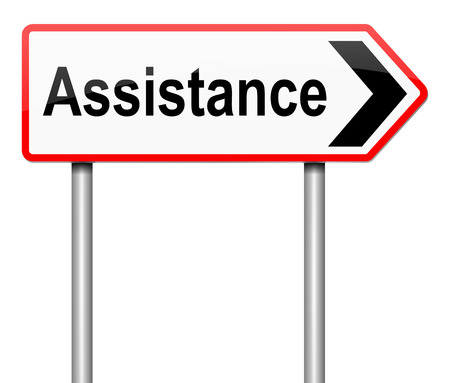 advising: Illustration depicting a sign with an assistance concept.