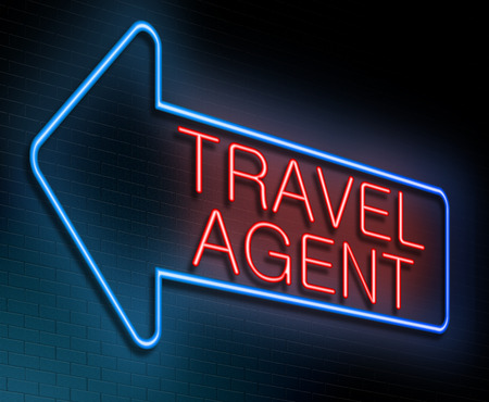 Illustration depicting an illuminated neon sign with a Travel agent concept. Stok Fotoğraf