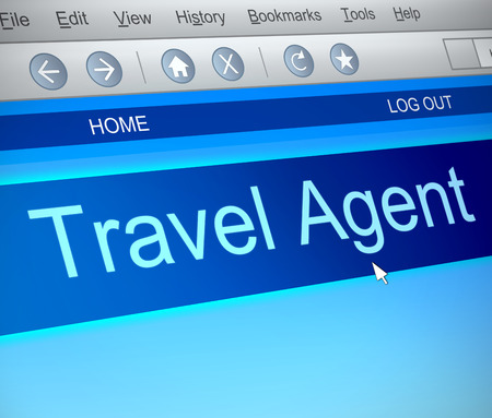 Illustration depicting a computer screen capture with a Travel agent concept. illustration
