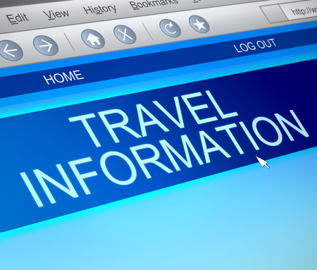 Illustration depicting a computer screen capture with a travel information concept. illustration