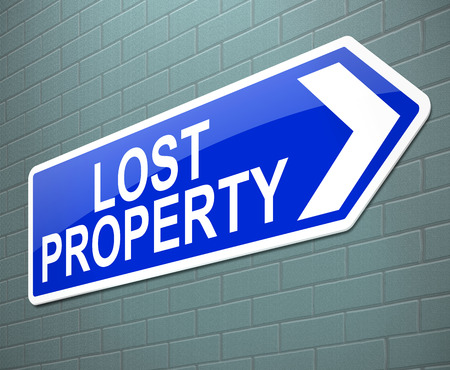 belongings: Illustration depicting a sign with a lost property concept. Stock Photo