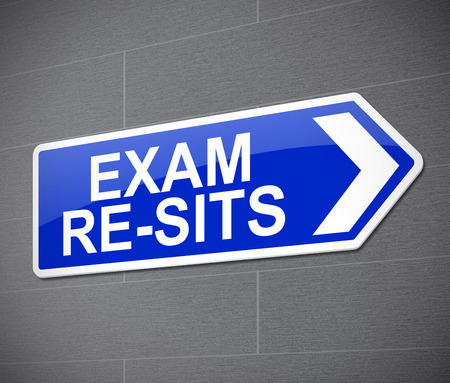 eduction: Illustration depicting a sign with an exam re-sit concept.