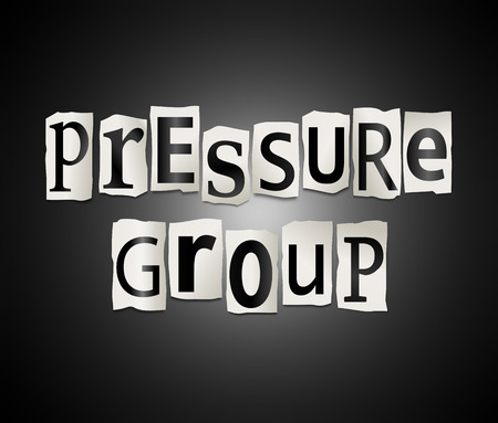 persuasion: Illustration depicting a set of cut out printed letters arranged to form the words pressure group.