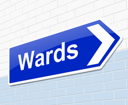 infirmary: Illustration depicting a sign with a wards concept.