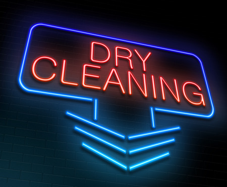 Illustration depicting an illuminated neon sign with a dry cleaning concept. illustration