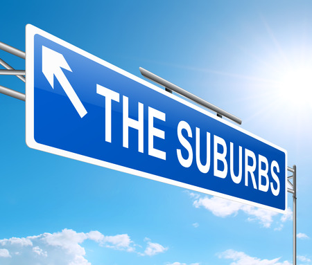 suburbia: Illustration depicting a sign with a suburbia concept.