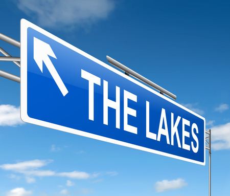 lochs: Illustration depicting a sign with a lakes concept.