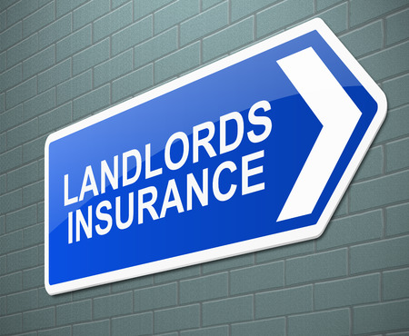 rental property: Illustration depicting a sign with a landlords insurance concept.
