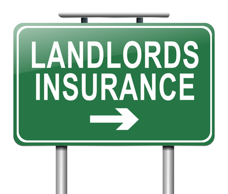 landlord: Illustration depicting a sign with a landlords insurance concept.