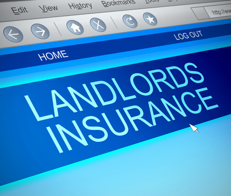 landlord: Illustration depicting a computer screen capture with a landlords insurance concept.