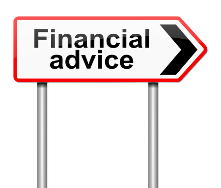 financial advice: Illustration depicting a sign with a financial advice concept.