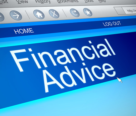 advising: Illustration depicting a computer screen capture with a financial advice concept.