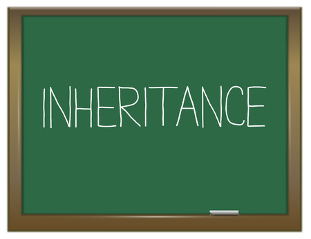 Illustration depicting a green chalkboard with an inheritance concept.