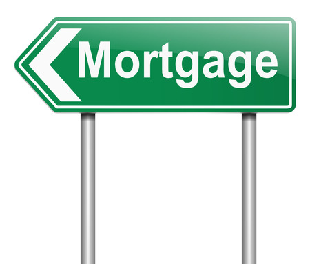borrowing money: Illustration depicting a sign with a mortgage concept.