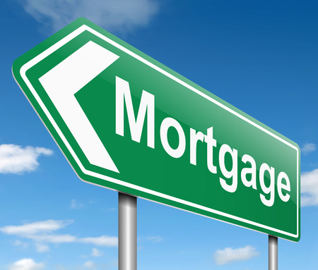 mortgaging: Illustration depicting a sign with a mortgage concept.