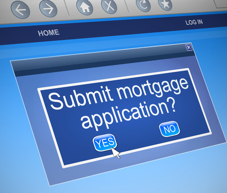 mortgaging: Illustration depicting a computer screen capture with a mortgage concept.