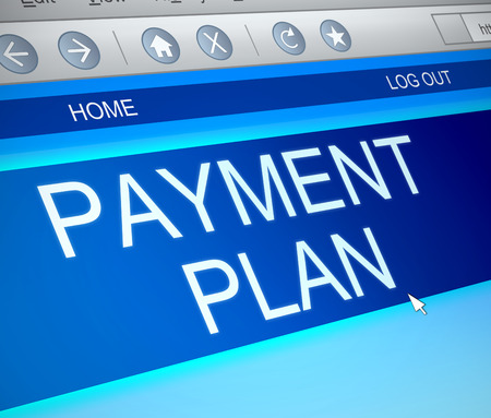 repayment: Illustration depicting a computer screen capture with a payment plan concept.