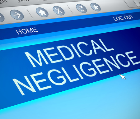 Illustration depicting a computer screen capture with a medical negligence concept. Stock Photo