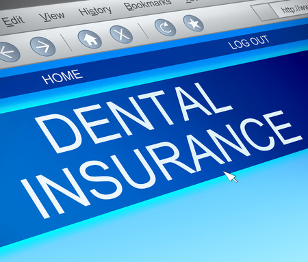 private insurance: Illustration depicting a computer screen capture with a dental insurance concept. Stock Photo