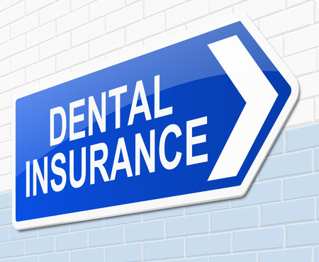 private insurance: Illustration depicting a sign with a dental insurance concept.