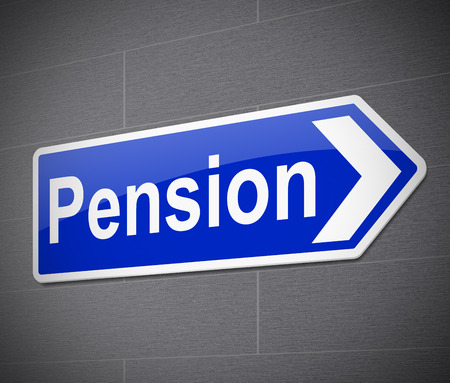 pensions: Illustration depicting a sign with a pension concept.