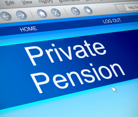 annuity: Illustration depicting a computer screen capture with a private pension concept.