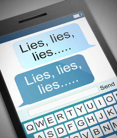 fib: Illustration depicting a phone with a lies concept.