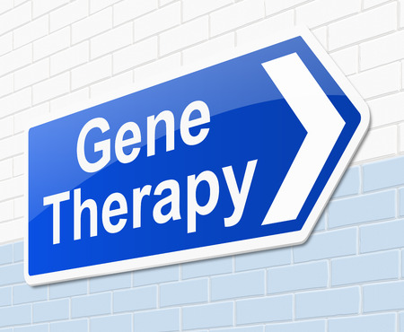 gene: Illustration depicting a sign with a gene therapy concept.