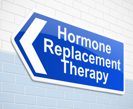 replacement: Illustration depicting a sign with a hormone replacement therapy concept. Stock Photo