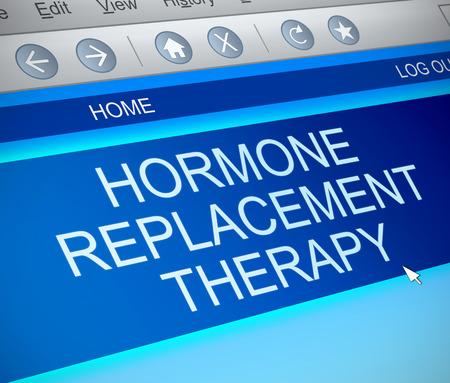 ホルモン補充療法の概念のイラストを描いた、コンピューターの画面をキャプチャします。